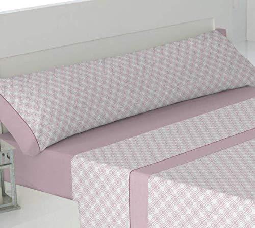 Trovador. Juego de sábanas. Cama 150x200x30 . Modelo Tania. Color Rosa. Composición 50% Algodón - 50% Poliéster. 3 Piezas.