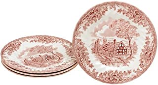 Churchill China Brook Pink 6 3/4-Inch Bread and Butter Plates, Set of 4