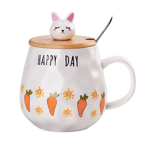 Wisolt Keramiktasse mit Holzdeckel, Kaninchen Tasse Becher Süße Kaffeetassen mit Deckel und Löffel Pink Bunny Kaffeebecher für Kaffee Tee Wasser Milch