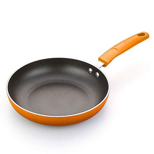 Flat Bottom anti-aanbakpan|Kleurrijke aluminium pan|Multifunctionele Wok | Anti-slip Stay-Cool Bakelite Handgrepen |Geschikt voor alle kookplaten AAA~ Orange 24cm