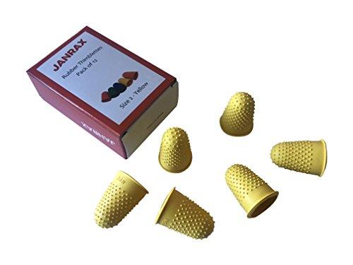 Paquete de 12 dedales amarillos nº 2 de goma, grandes conos de dedos.