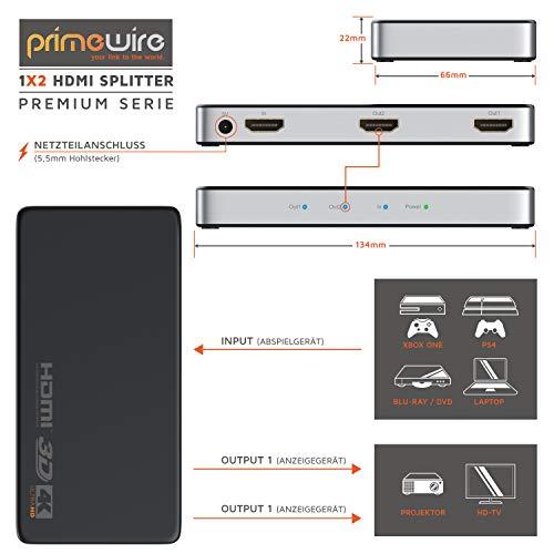 CSL - HDMI Splitter 4K UHD 2160p 4K 30Hz - Full HD 144 Hz - 1 in 2 Out - CEC - HDCP - 3D Ready - Deep Color 30Bit 36Bit & 0,5m HDMI Kabel 2.0a 2.0b - Ultra HD 4k 60Hz - neuester Standard schwarz