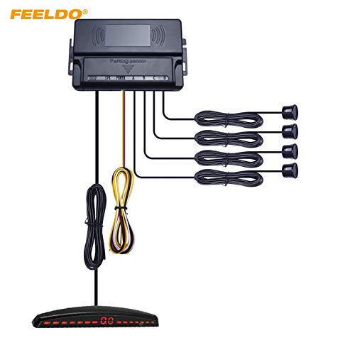 Find Bargain Yellow : FEELDO 1Set 10-Color New 4-Sensor Ultrasonic Radar for Car Front Parking Aid S...