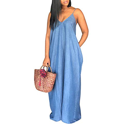 Women Summer Sleeveless Denim Maxi Dresses Plus Size Deep V Neck Halter Loose Blue Jean Ankle Dress (Medium, Blue)