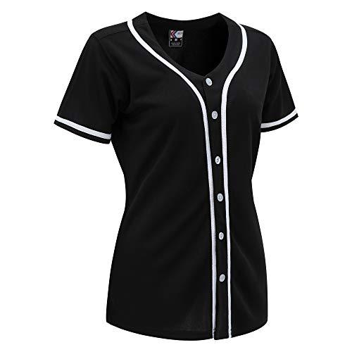 MOLPE Women Button Down Baseball Jersey (Black/White-2, M)