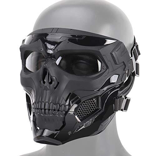 Maschera Tattica Cranio Softair, Maschera Protettiva Integrale Paintball CS Hockey Halloween Masquerade Cosplay Protezione degli Occhi Maschera Scheletro per attività All'aperto,Nero