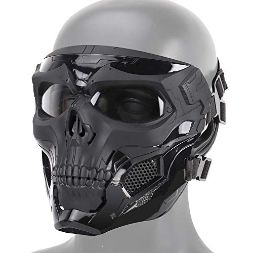 AUOKER Airsoft Skull Masks Full Face, Adult Deluxe Mask Eye Protection For Halloween BB Paintball Gun Patriots CS Game Cosplay Party Halloween Cosplay Zombie Scary Skeleton Masks