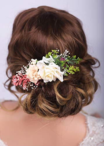 Kercisbeauty, niedlicher Blumen-Haarkamm, Vintage-Kopfschmuck für Gartenparty, Hochzeit, Brautschmuck, Mädchenparty, Hochsteckfrisur