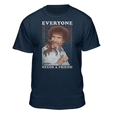 Teelocity Bob Ross Everyone Needs A Friend Graphic T-Shirt (2XL - Athletic Fit, Navy)