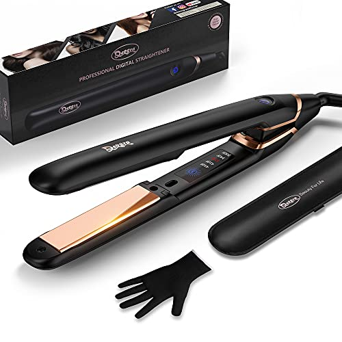 Titanium Flat Iron for Hair, Hair Straightener and Curler 2 in 1, Professional Hair Iron with Salon High Heat 450℉, Ideal Gift for Woman/Girl/Her, Touch Control, with Glove, 1 Inch, Black