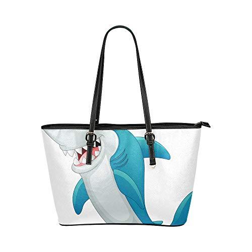Handtaschen mit Reißverschluss Cartoon Cute Childlike Shark Sonnenbrille Leder Hand Totes Bag Kausale Handtaschen Reißverschluss Schulter Organizer für Lady Girls Damen Designer Umhängetaschen
