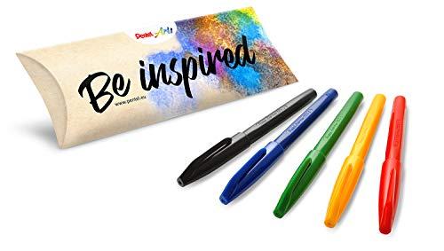 Pentel S520 Sign Pen pennarello punta fibra 5 pz colori assortiti (nero, rosso, blu, verde, giallo)