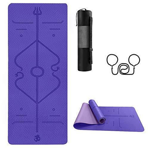 TTMOW Yogamatte Gymnastikmatte mit Ausrichtungslinien TPE Umweltfreundliche rutschfeste Fitnessmatte 183x61x0,6cm Übungsmatte mit Tragegurt und Aufbewahrungstasche für Yoga, Pilates, Fitness lila