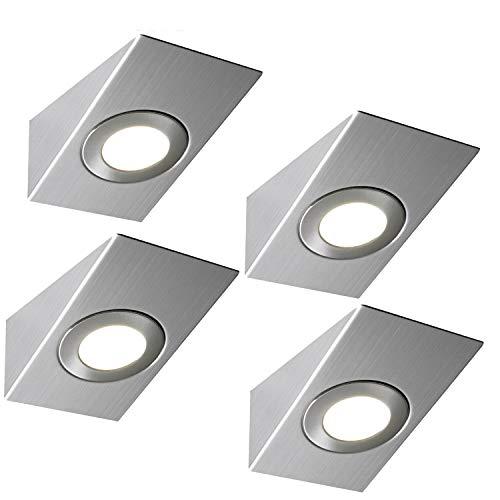 LED-Leuchten für die Küche, unter dem Schrank, Keil und Treiber, Edelstahl, warmes Weiß, 4 Stück