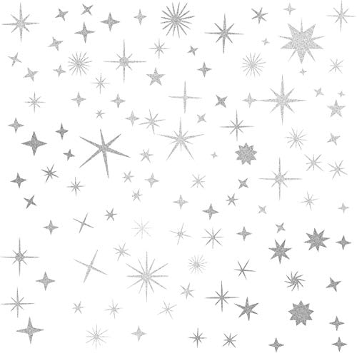 Sparkle Decals Star Decals, Nursery Wall Decal, Kids Room Decor, Star Wall Decor, Sparkle Wall Art, Baby Room Star Wall Sticker Peel&Stick Removable Decals (Vintage Silver)