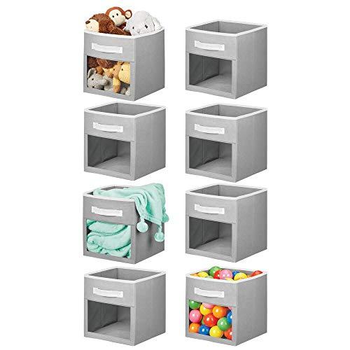 mDesign Soft Fabric Closet Storage Organizer Cube Bin Box Clear Window and Handle - for ChildKids Room Nursery Playroom Furniture Units Shelf 8 Pack - GrayWhite