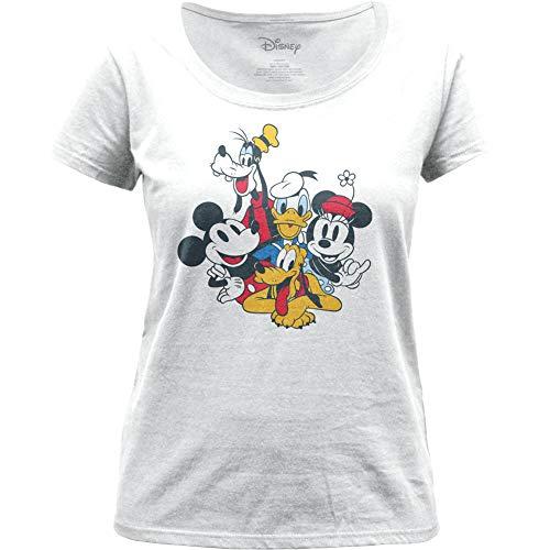 Camiseta de manga corta con logotipo de Disney para mujer, diseño retro Blanco blanco S