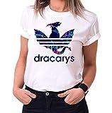 Dracarys Celia - Camiseta para Mujer de Cuello Redondo Targaryen Thrones Game of Stark Lannister Baratheon Daenerys Khaleesi TV BLU-Ray DVD, Größe2:Medium, Farbe2:Blanco