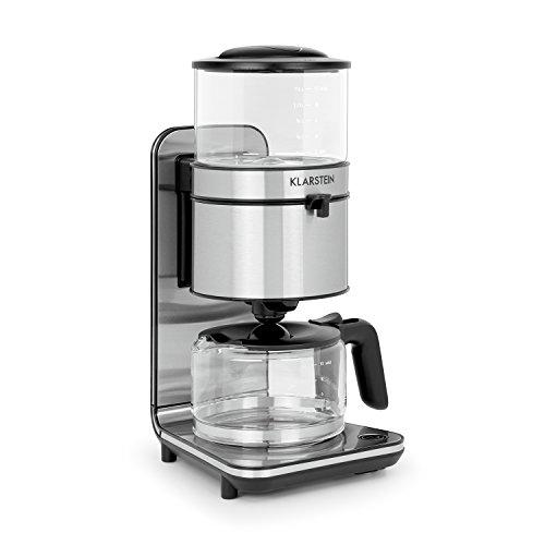 Klarstein Soulmate - Macchina del Caffè Americano, A Filtro, 1800 W, In Vetro e Acciaio, 1,25 litri, Per 4-10 tazze di caffè, Pulizia semplice, Spina di sicurezza, Bricco Incluso, Argento