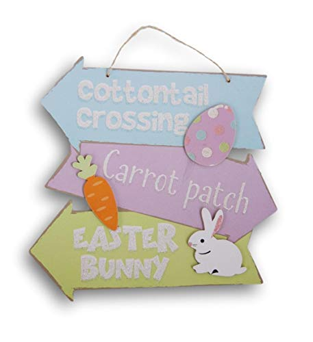 Easter Glitter Springtime ''Cottontail Crossing'' Hanging Decor Sign - 10.5 x 11.5 Inches