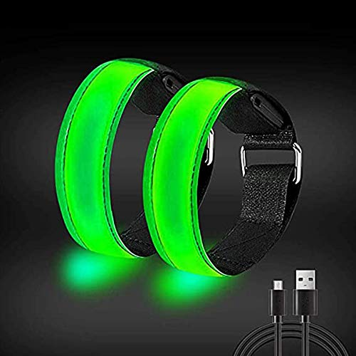 HAUHAU Led Armband Aufladbar(Grün)(2 APCK), Lauflicht für Läufer, reflektierende Armbänder mit hoher Sichtbarkeit für Männer, Frauen, Kinder, reflektierendes Laufzubehör