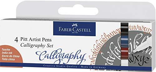 Faber Castell Rotulador Pitt Artist Pen Calligraphy 4 Colores clásicos