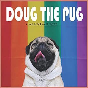 Doug the Pug CALENDAR 2022  8.5 x 8.5Inch Monthly Square Wall Calendar with Foil Stamped Cover by Plato Pet Humor Puppy