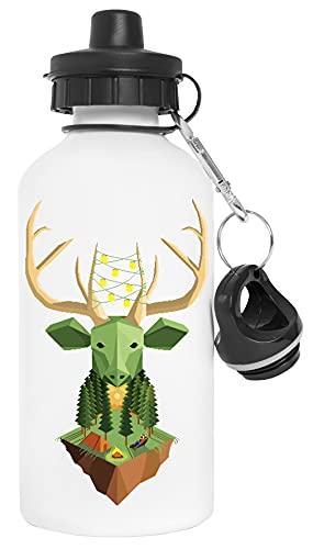 Verde Animal Ciervo Cámping Geométrico Botella de Agua Blanco Aluminio Reutilizable Water Bottle White Aluminium Reusable
