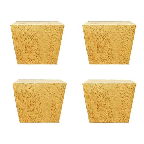 KMILE 6-12 cm Massivholz Möbelfüße,Trapezförmige Sofabeine,Moderne Tischbeine,Couch Stuhl/Couchtisch/Schrank/Kommode/Möbelersatzbeine,Möbelzubehör,Holzstützbeine,(Holzfarbe,schwarz),4pcs