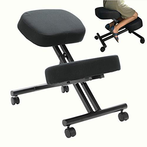 Silla ergonómica de rodillas y taburete ajustable para el hogar y la oficina, mejora tu postura con un asiento en ángulo, cojines gruesos y cómodos (negro)