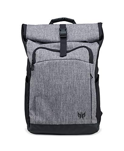 """Accesorios Acer Predator: mochila para juegos Gaming Rolltop (adecuada para todos los portátiles de 15 """", resistente al agua, capacidad de 35.5 litros, todo el equipo en una bolsa) gris"""