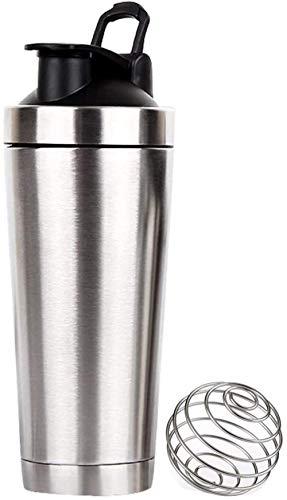 プロテインシェーカーステンレス鋼シェーカーボトルプロテインブレンダーボール付き、フィットネス、ワークアウト、ジム、スポーツ活動用、ステンレス鋼