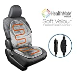 HealthMate IN9438-2 Velour 12V Heated Seat Cushion with Lumbar...
