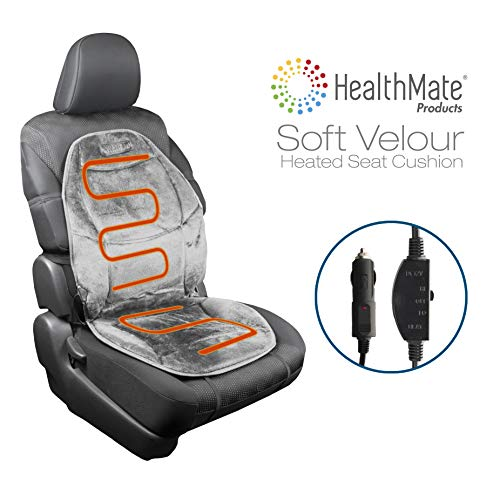 HealthMate IN9438-2 Velour 12V Heated Seat Cushion with Lumbar Support, Heating with Easy Controller, Color Gray, Products by Wagan