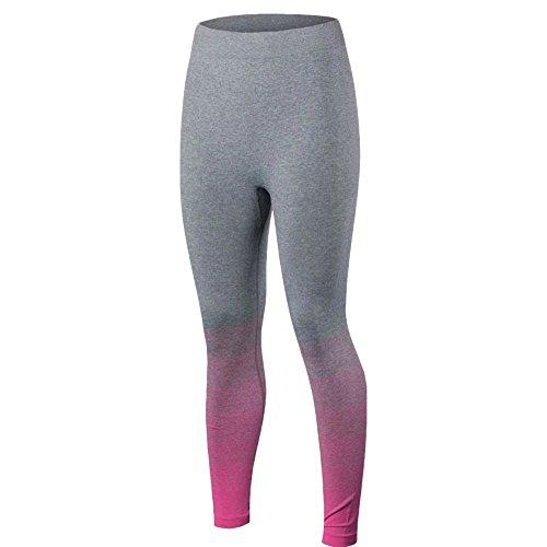 Femmes Pantalons de Sports Complets Longueur Skinny Taille Élastique Pantalon Legging Rose M