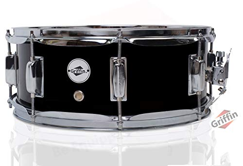 "GRIFFIN Snare Drum | Poplar Wood Shell 14"" x 5.5"" with Black PVC & Coated Head 