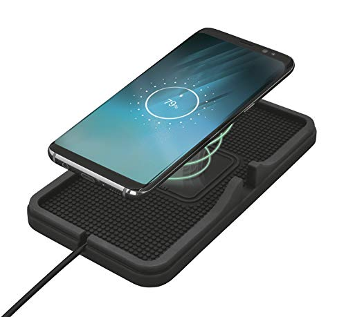 Trust Flexo Kabellose Fahrzeugladematte (für alle Smartphones, die induktives Qi-Laden unterstützen) Schwarz
