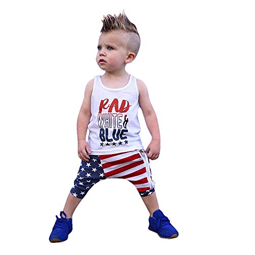 WARMSHOP Outfit Sets for 0-4T, Girls Boys 4th of July America Independence Day Stars Striped Print...