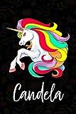 Candela: Cuaderno de notas unicornio para niña con nombre personalizado Candela, cuaderno unicornio ...