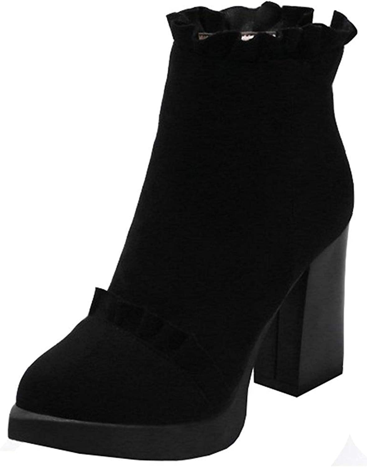 Ghssheh Women's Elegant Falbala Block High Heel Platform Ankle Booties Pointed Toe Back Zipper Faux Suede Short Boots Black 4.5 M US