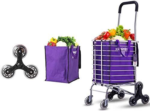 Equipo para el hogar Portátil 6 ruedas Escaleras para subir Carrito de la compra Carro Trolley de aluminio para el hogar Furgonetas para el hogar Ligero plegable - Morado (pcs1) (Tamaño: 8 rondas)