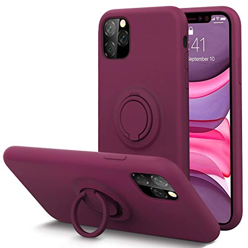 KUMEEK for iPhone 11 Pro Max Case Fingerprint | Kickstand | Anti-Scratch | Microfiber Liner Shock Absorption Gel Rubber Full Body Protection Liquid Silicone Case for iPhone 11 Pro Max-WineRed