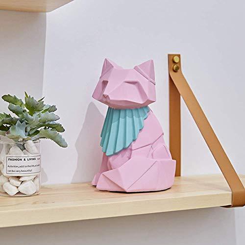 erddcbb Origami geométricEscultura de Zorro Estatua de Resina Estatuilla de Zorro Decoración geométrica de Animales para Regalos para el hogar Recuerdos 20 cm de Alto, Rosa