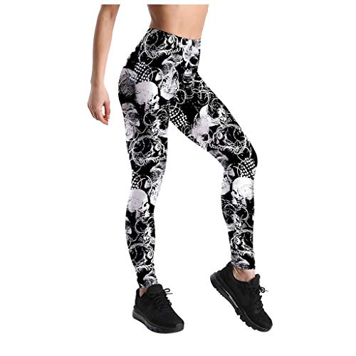 Damen Sport Leggings mit Totenkopf Print Yoga Hose Eng Fitnesshose Lang Strumpfhose Fitness Tights Kompression Jogginghose Frühling Sommer Herbst Winter Kanpola