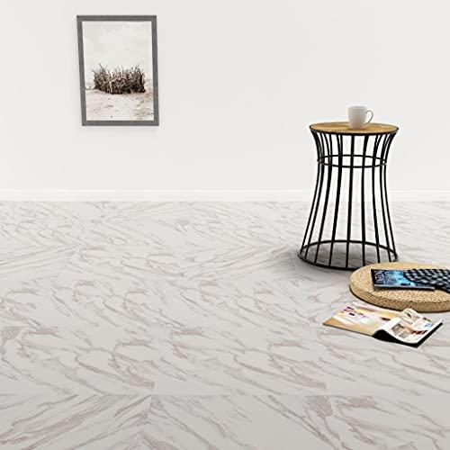 Ksodgun PVC Laminat Dielen Selbstklebend Dielenboden Bodenschutz Folie Selbstklebend Boden Planken Fußboden 5,11 m² Weißer Marmor