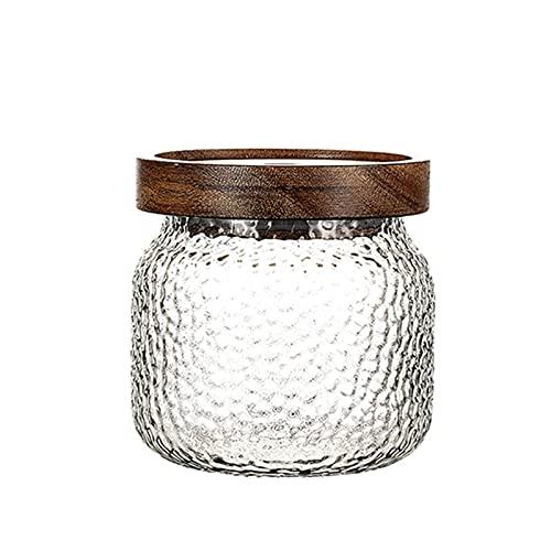 QKFON Juego de 3 tarros de cristal herméticos vintage de cristal transparente para guardar dulces, té, café, sal y miel