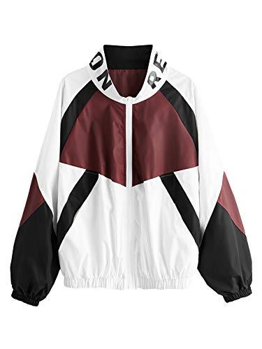 SweatyRocks Women's Lightweight Windbreaker Patchwork Zipper Sport Jacket Coat Outerwear Red L