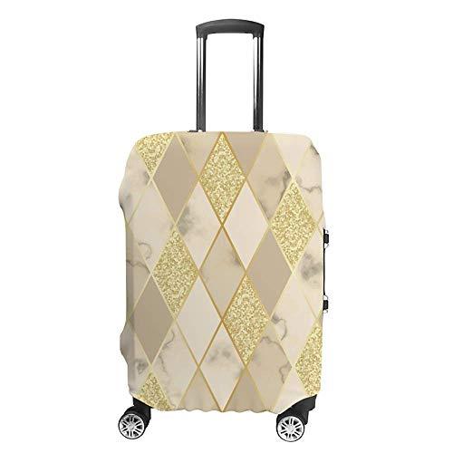 Funda de equipaje gruesa lavable geométrica dorada blanca beige rombo mármol fibra de poliéster elástica plegable ligero protector de maleta de viaje
