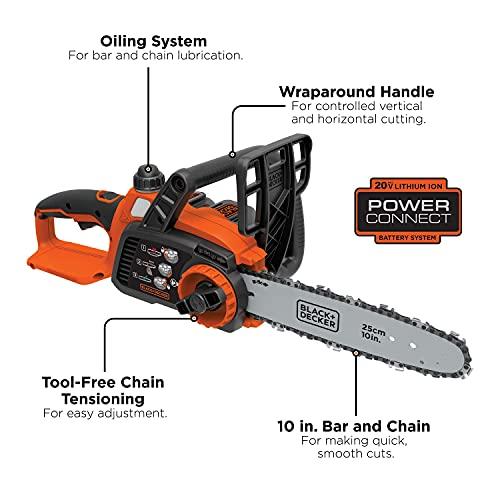 BLACK+DECKER 20V MAX Cordless Chainsaw, 10-Inch (LCS1020)