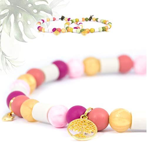 Mr. Petz Hundehalsband für kleine u große Hunde/Welpen verstellbar (S) - Vegan - Rot Pink Rosa - EM Keramik Halsband Hund…